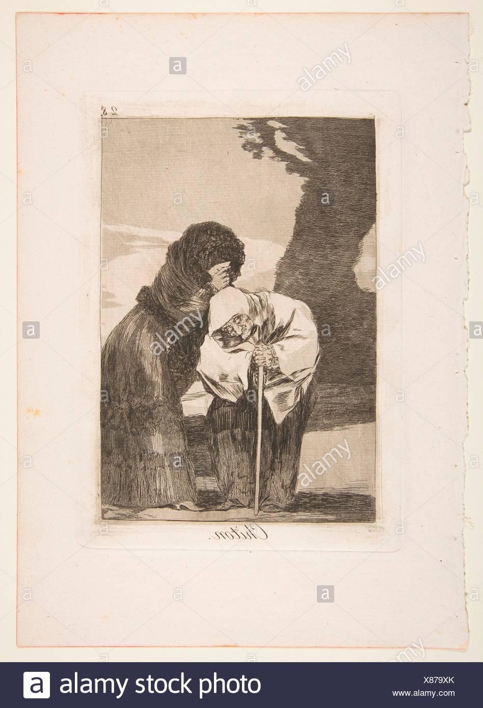 Plate 28 from 'Los Caprichos': Hush (Chiton.). Series/Portfolio: Los Caprichos; Artist: Goya (Francisco de Goya y Lucientes) (Spanish, Fuendetodos - Stock Image