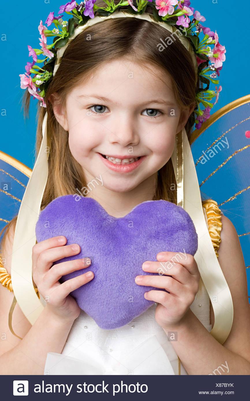 Girl dressed as fairy princess - Stock Image