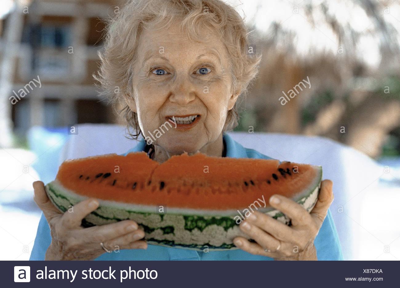 Senior, watermelon, portrait, woman, old, senior citizens