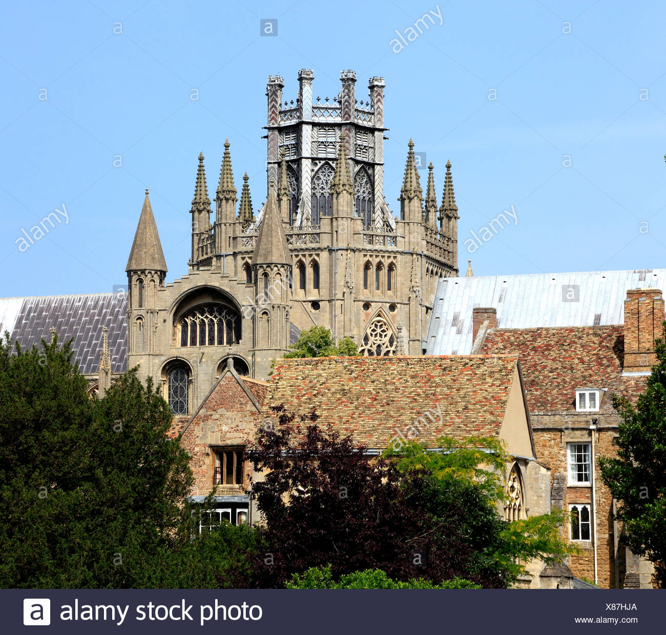 Ely Cathedral, Octagon and Lantern towers, Cambridgeshire England UK English medieval cathedrals tower precinct - Stock Image