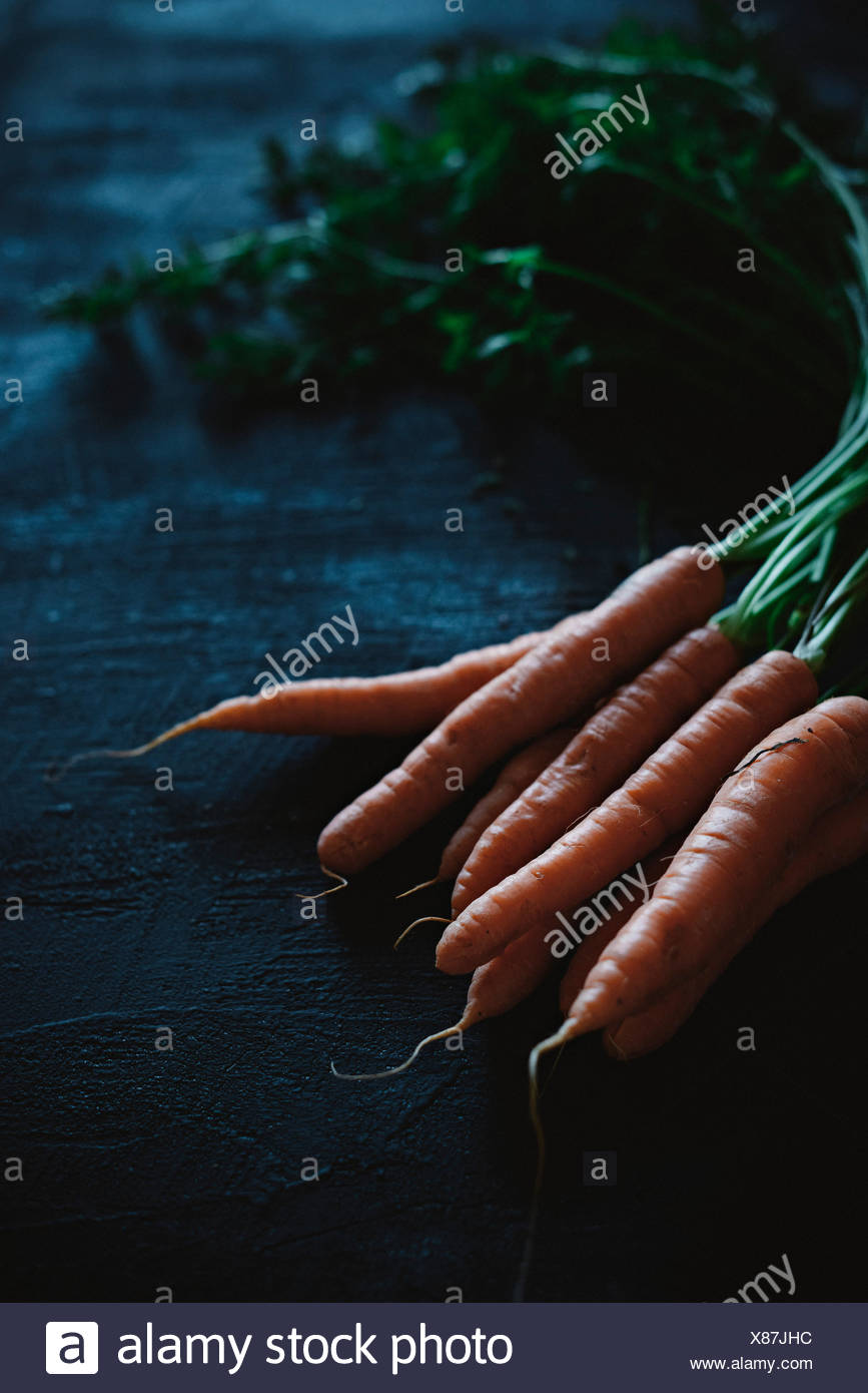 A carrot with stalk on a black background - Stock Image