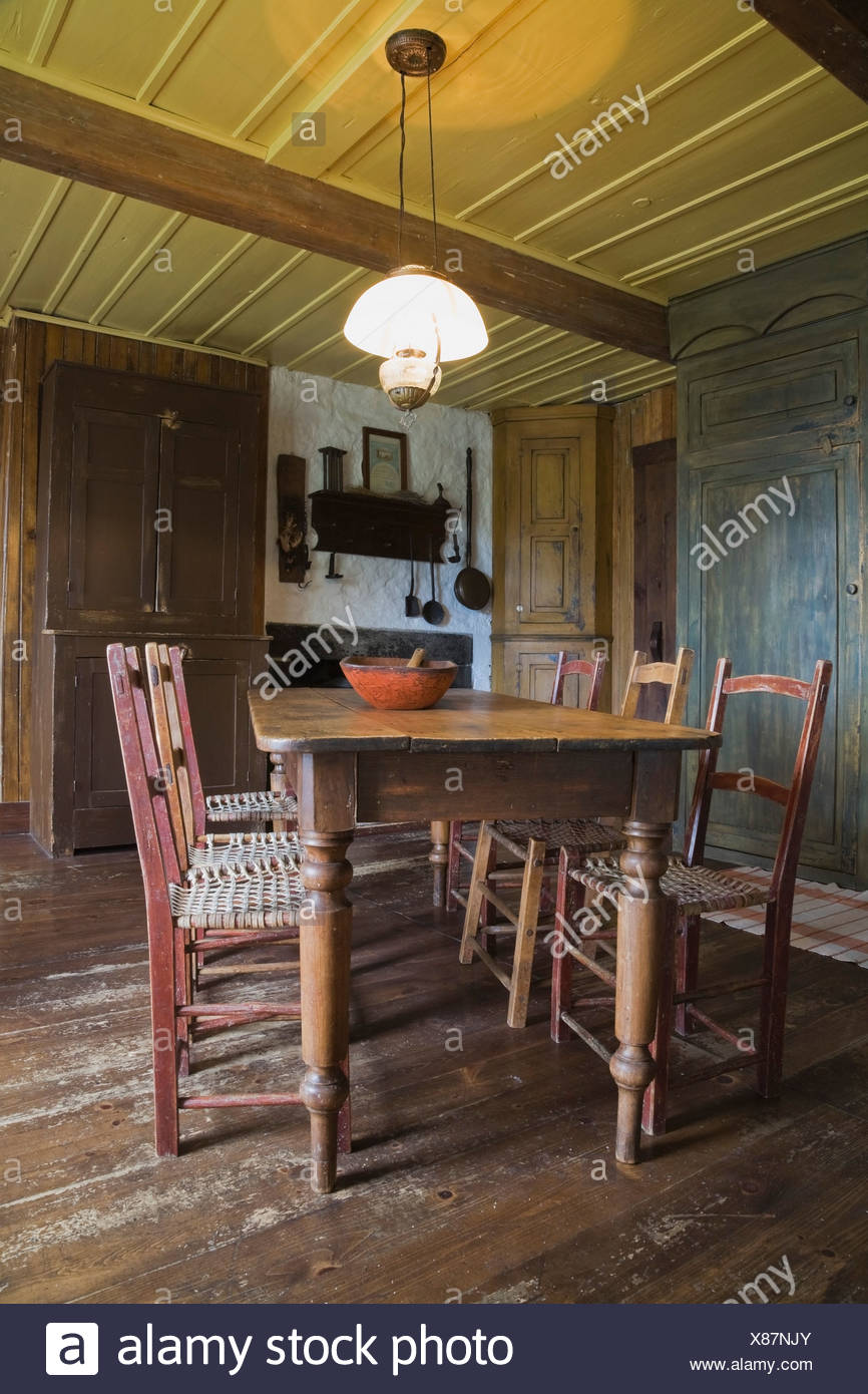 Antique dining table and chairs in 10th century home, Quebec