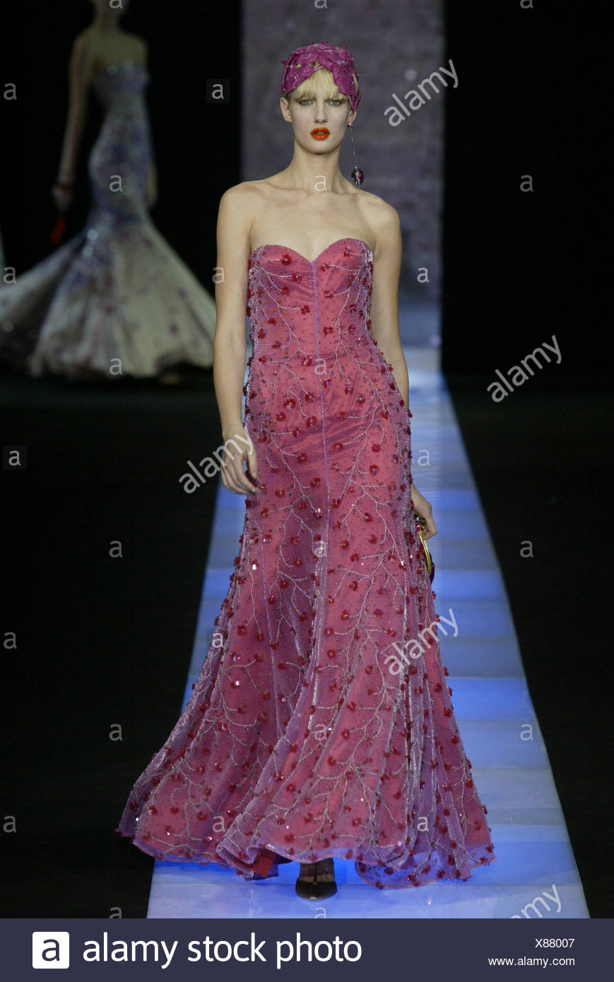 Pink Feather Evening Gown Stock Photos & Pink Feather Evening Gown ...