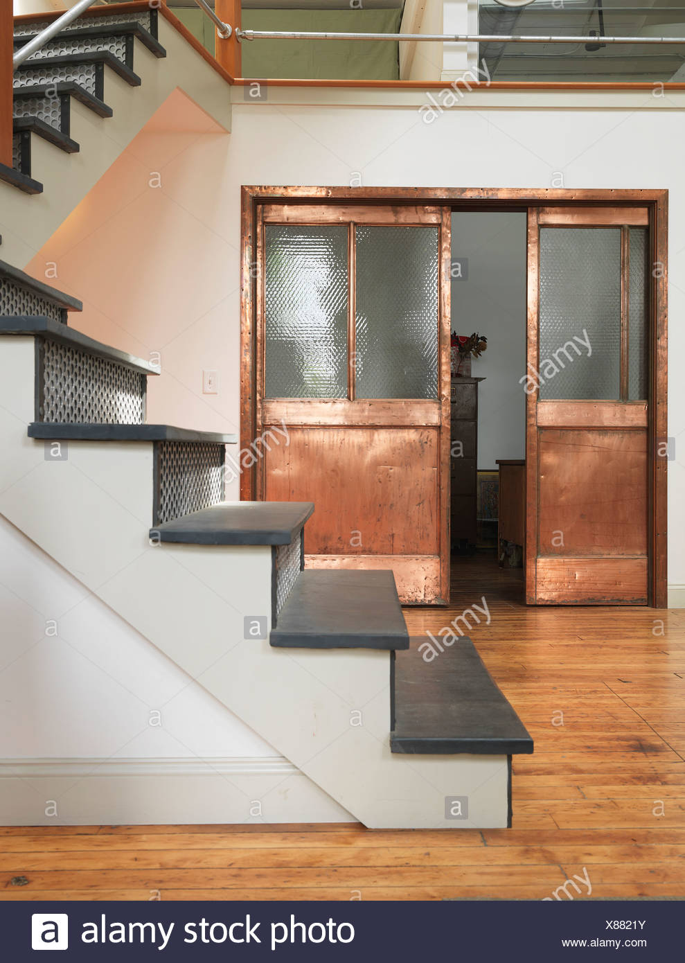 reused doors and steps - Stock Image