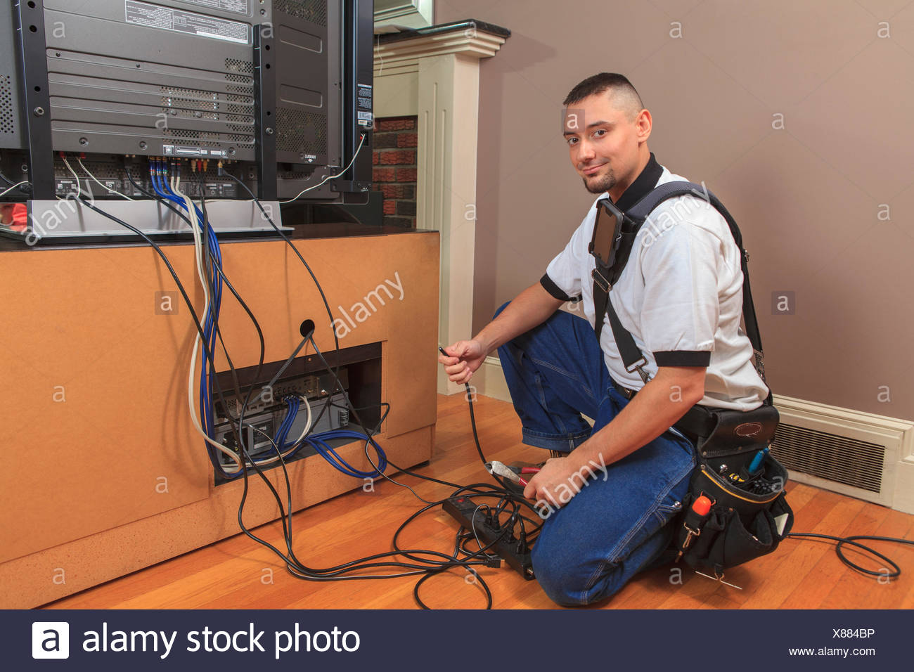 Cable Technician Wire Harness Amp Installer Stock Photos Images Alamy