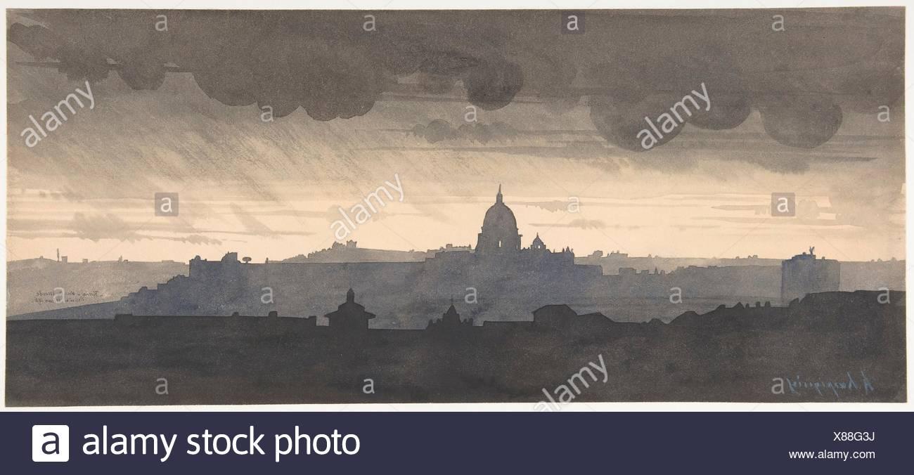 Saint Peter's Seen From the Pincio, Rome. Artist: Henri-Joseph Harpignies (French, Valenciennes 1819-1916 Saint-Privé); Date: 1856; Medium: Pen and - Stock Image