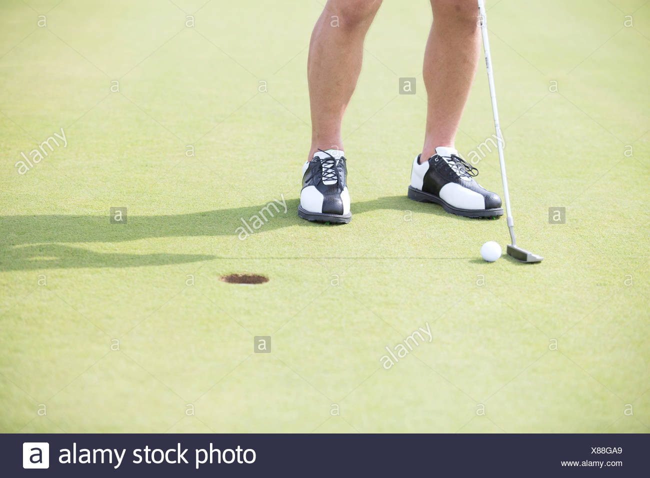 Low section of man with golf club and ball - Stock Image