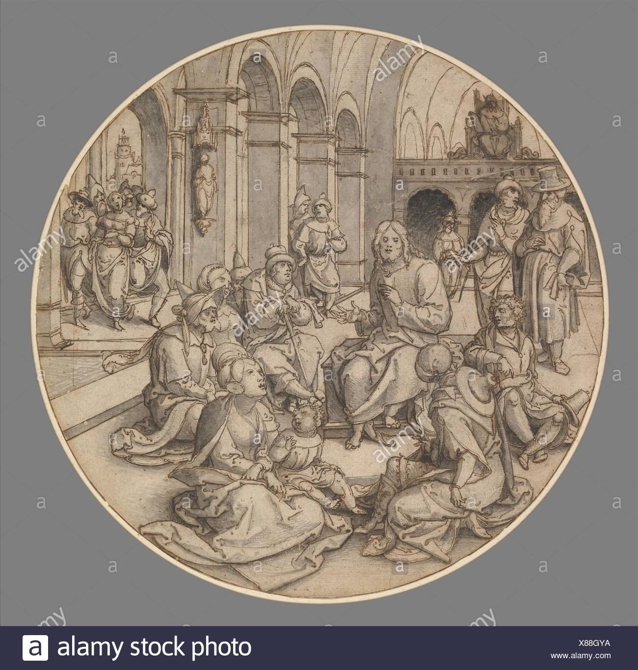 Christ Preaching in the Synagogue, with the Pharisees Bringing the Woman Taken in Adultery. Artist: Dirck Vellert (Netherlandish, Amsterdam (?) ca. - Stock Image