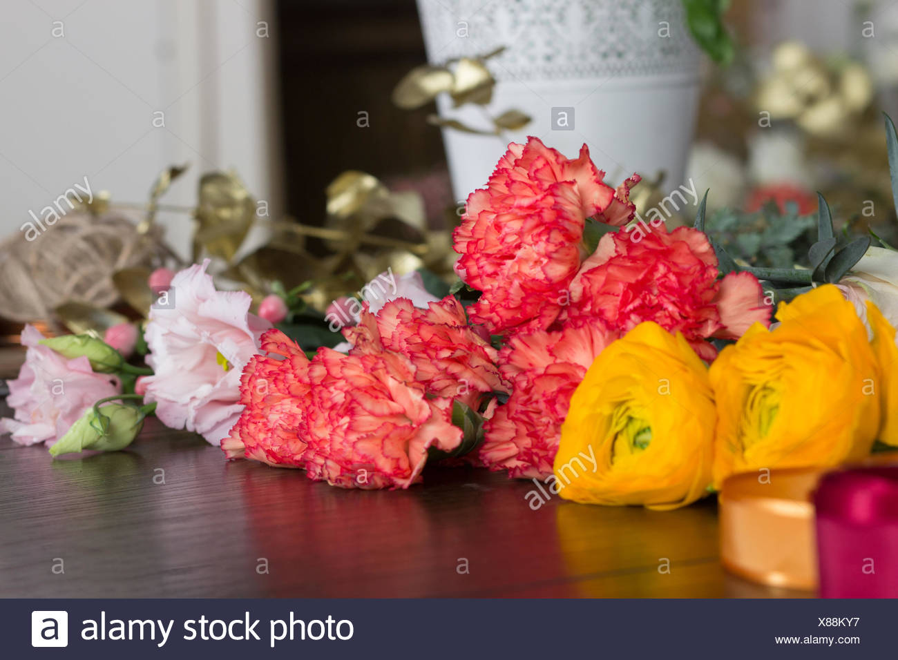 Four Different Types Of Flowers On The Table Stock Photo 280474411