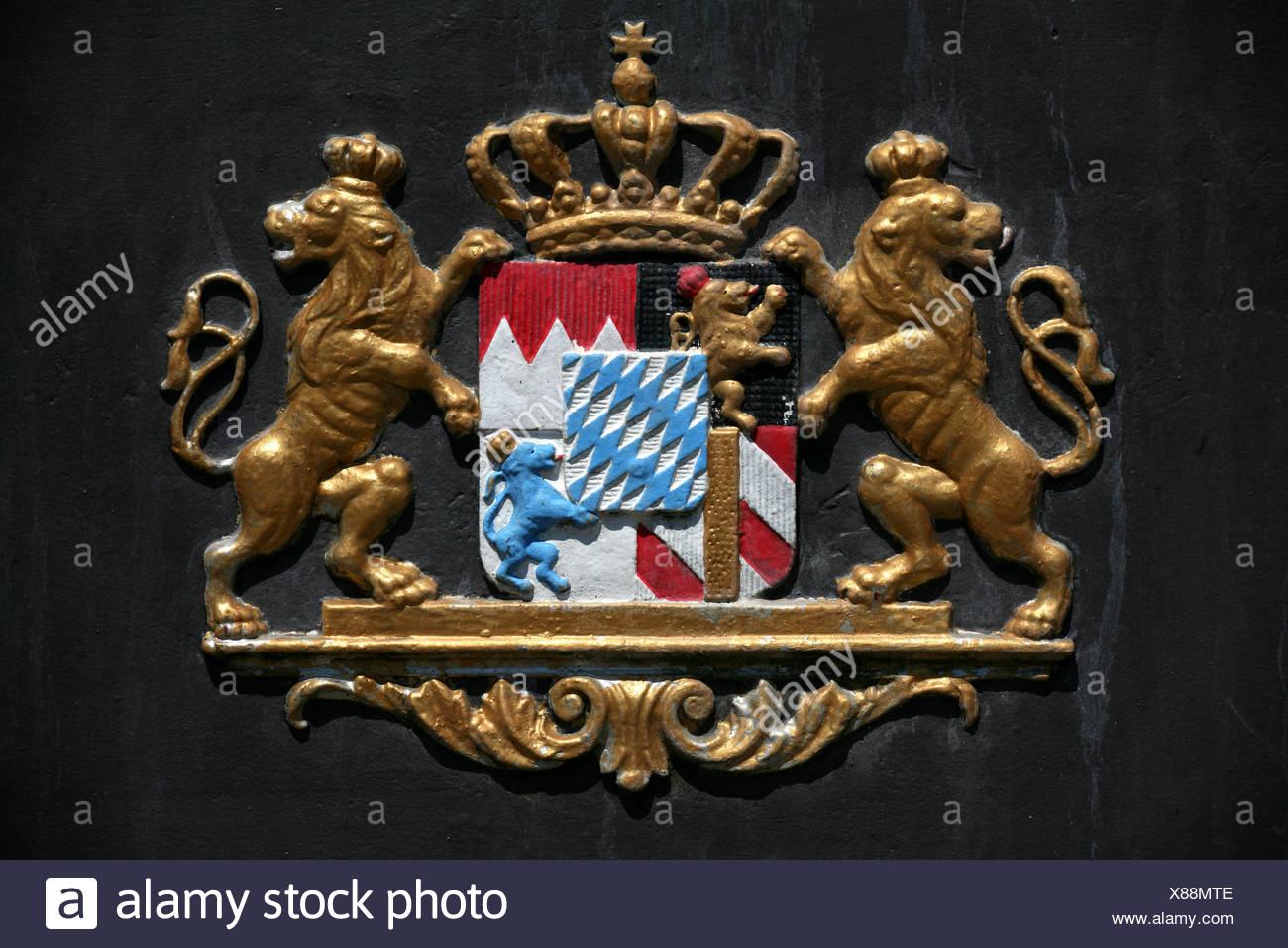 bavaria heraldry lions emblem bavarian germany german federal republic francs - Stock Image