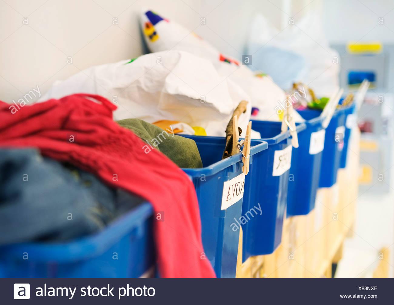 Baskets on preschool - Stock Image