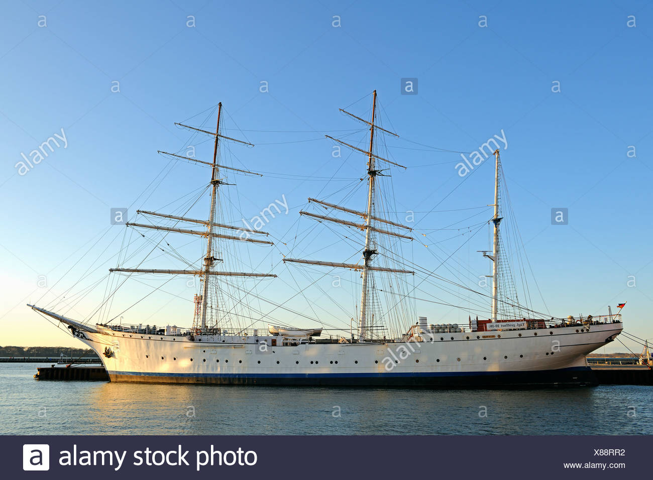Tall ship Gorch Fock I in the morning light, old port of Stralsund, Mecklenburg-Western Pomerania, Germany, Europe, PublicGround - Stock Image