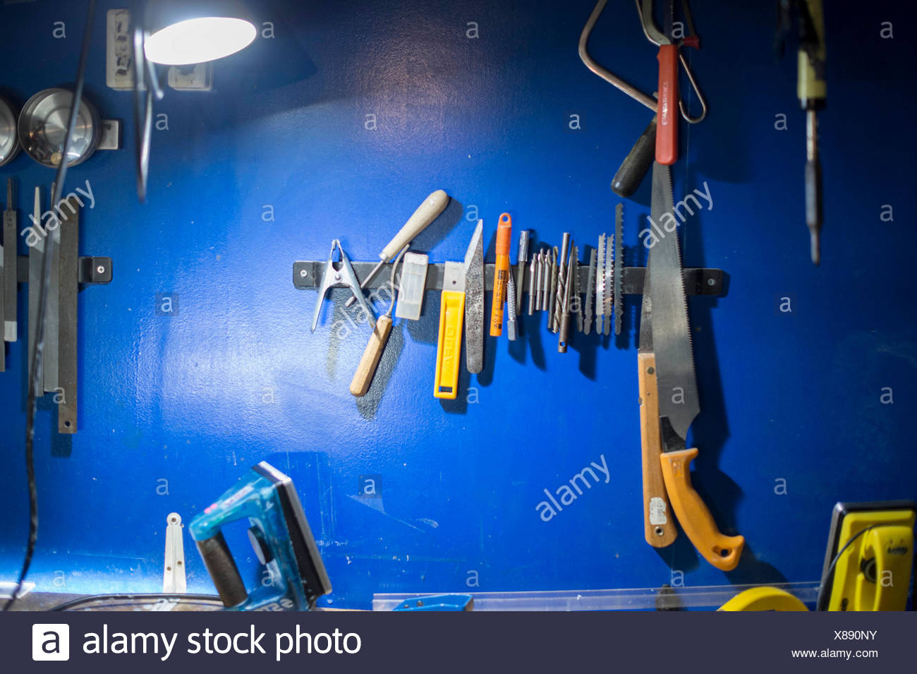 Repairing Tools For Snowboard In Workshop - Stock Image