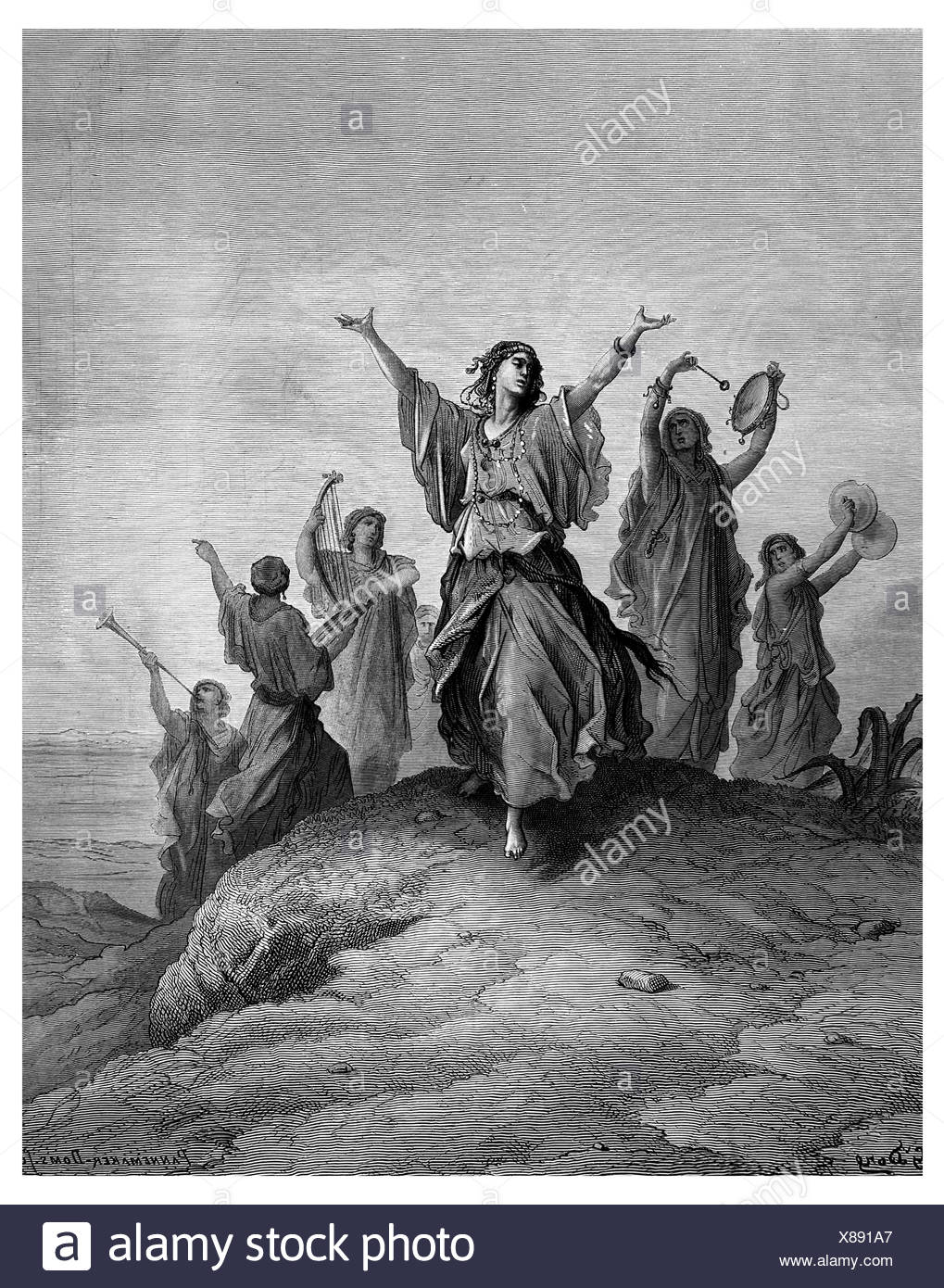 Jephthah s daughter goes to meet her father Stock Photo
