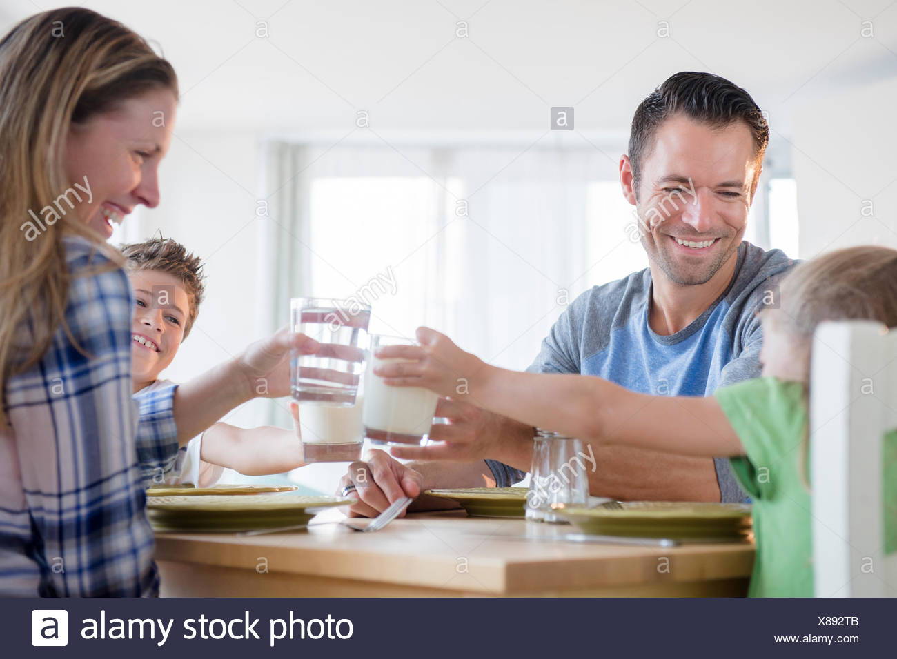 Family with two children (6-7, 8-9) making a toast - Stock Image