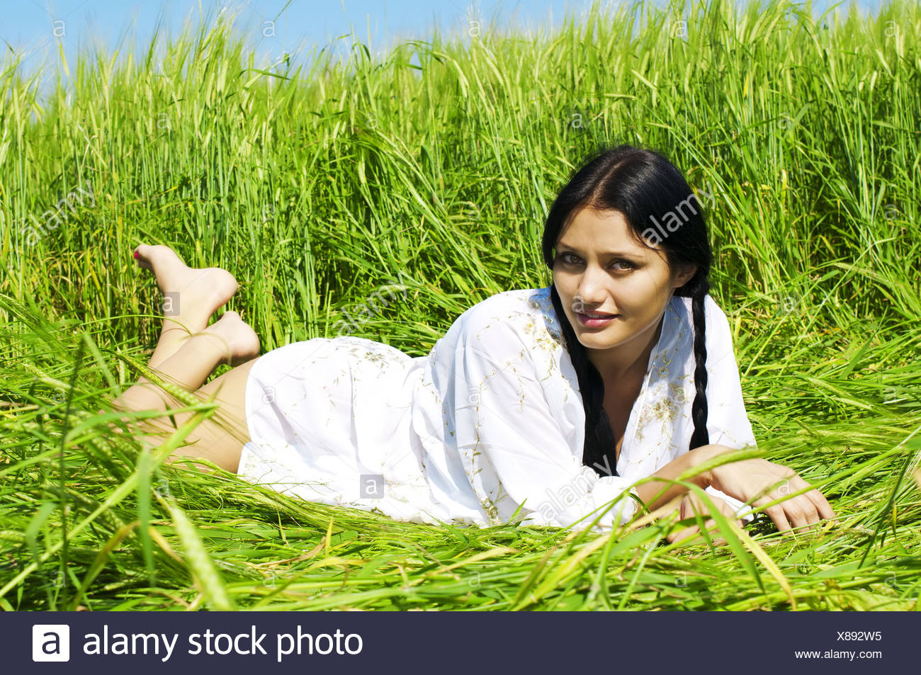 Woman at the rye Stock Photo