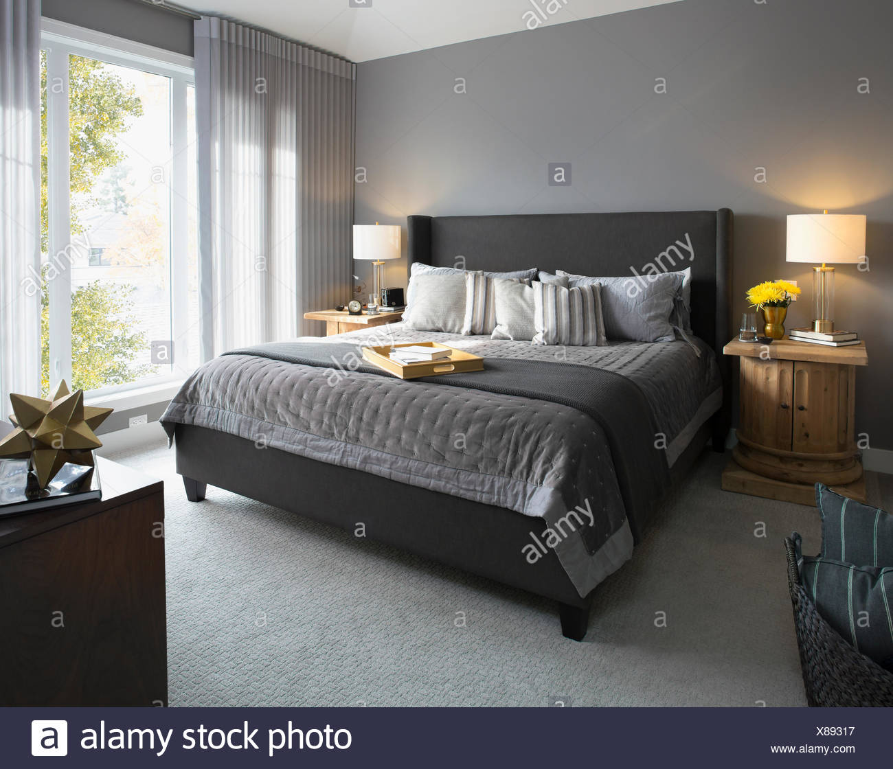 Elegant Modern Home Showcase Interior Bedroom Stock Photo