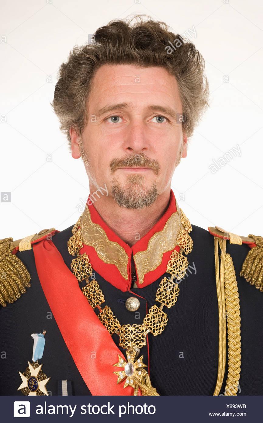 Man as King Ludwig of Bavaria looking away - Stock Image