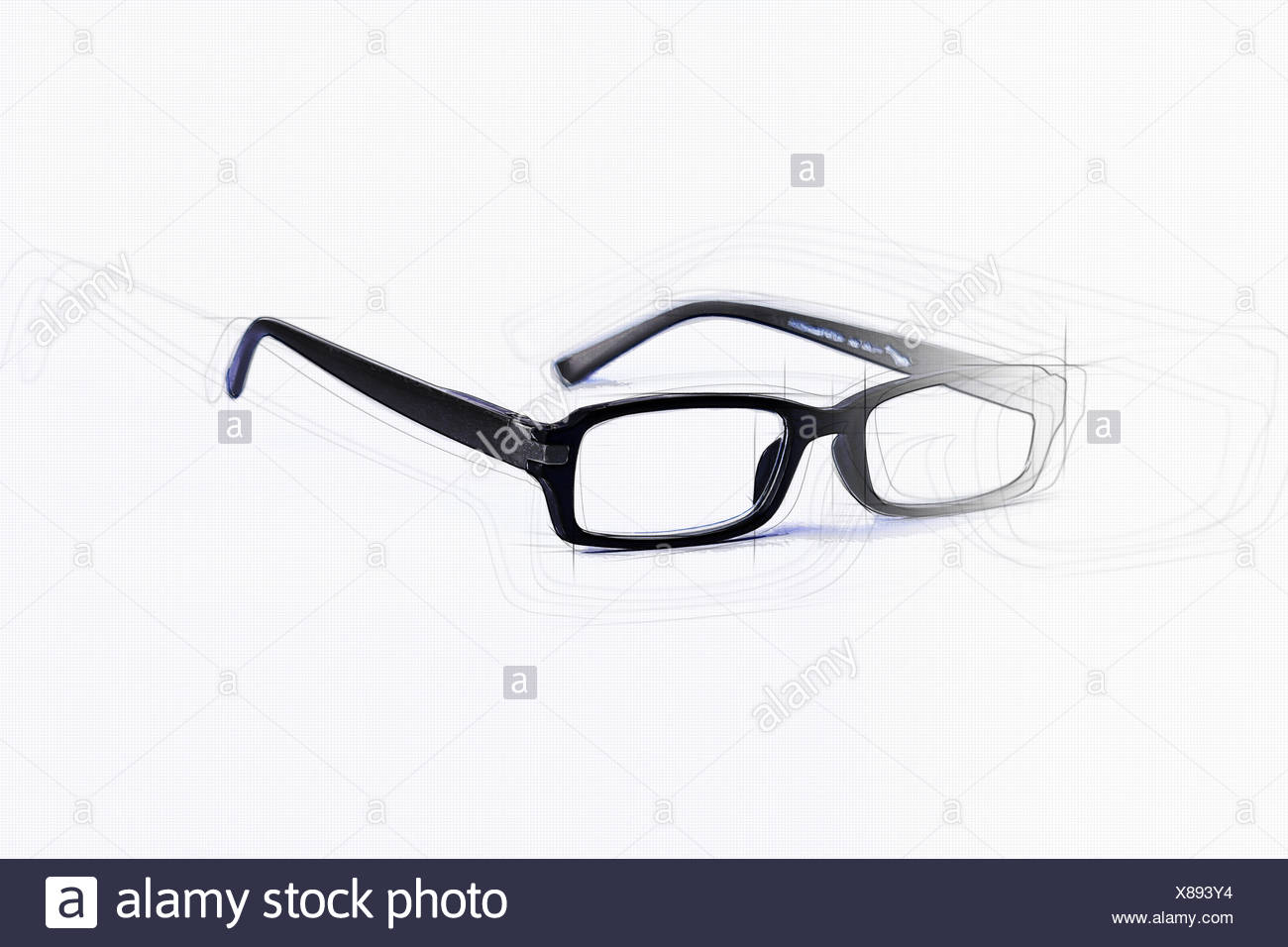 Glasses drawn in black and optional sketch - Stock Image