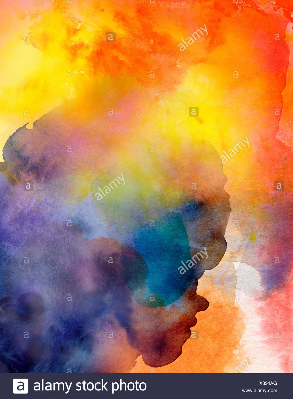 aquarell farbflächen abstrakt bunt - Stock Image