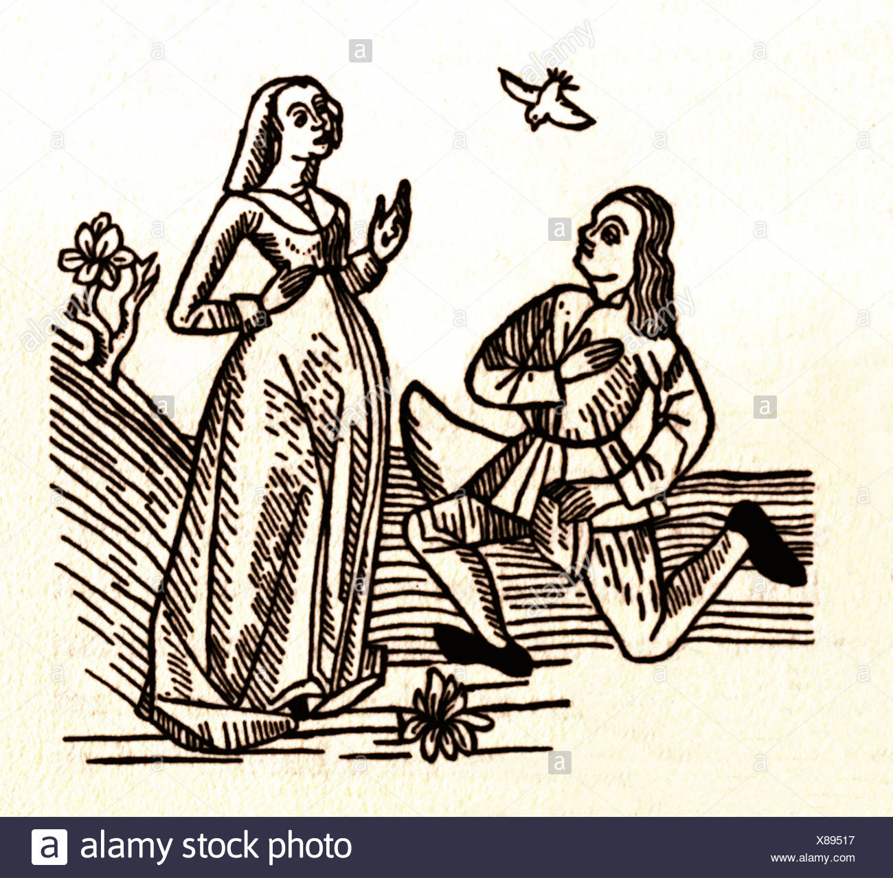 Lovers, old woodcut - Stock Image