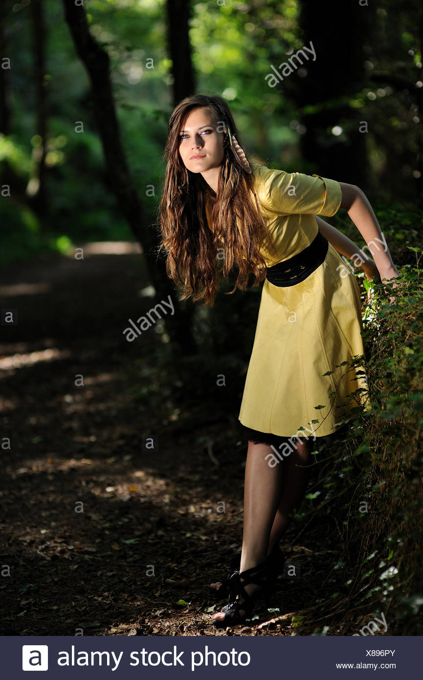 A Girl In The Forest. - Stock Image