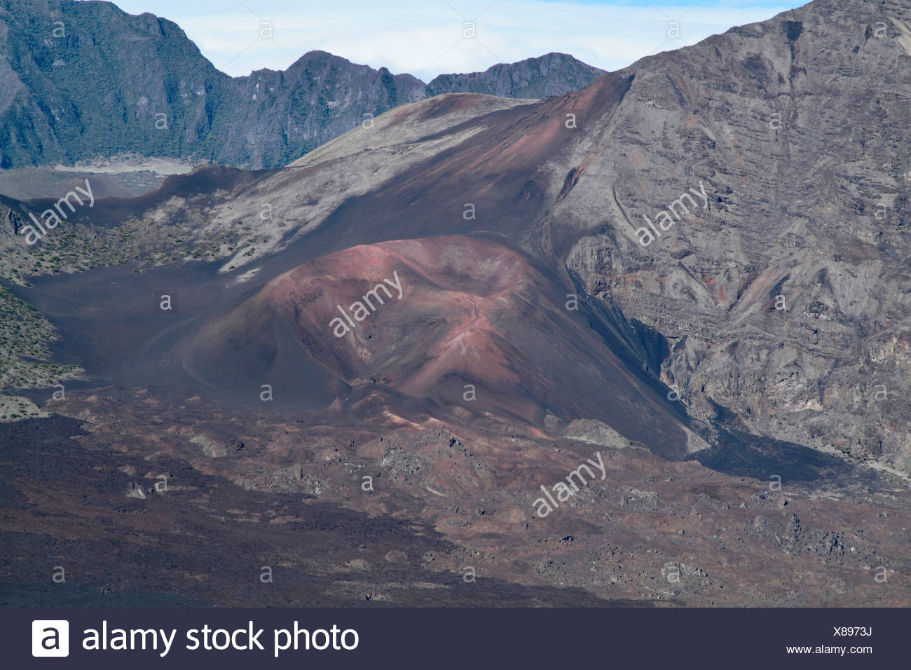 volcanic cone in the crater of Haleakala, USA, Hawaii, Maui - Stock Image