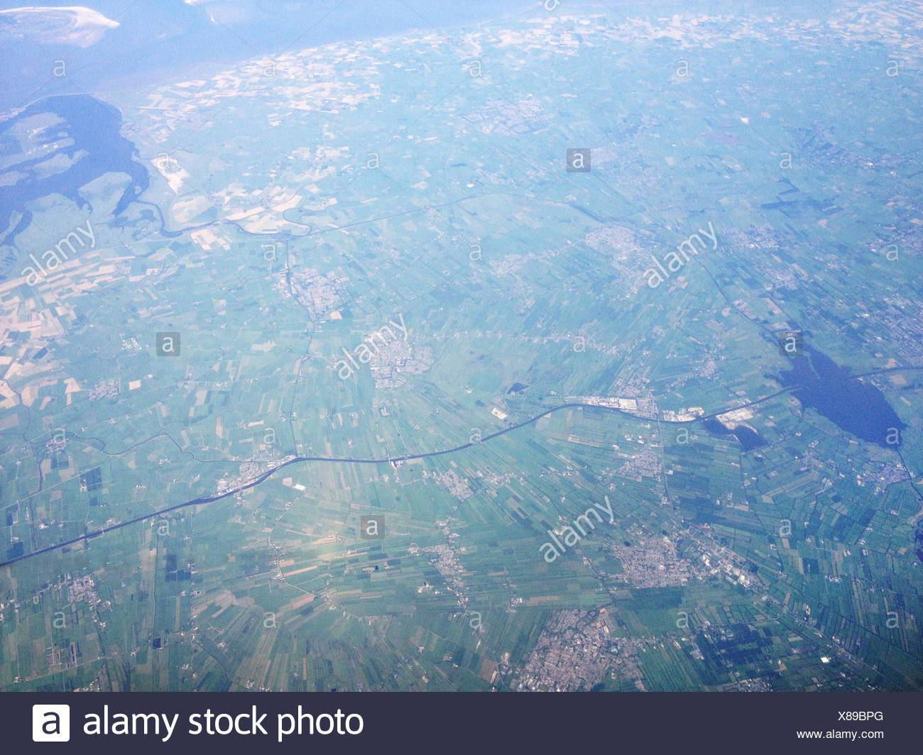 Denmark Agricultural Land From Above - Stock Image