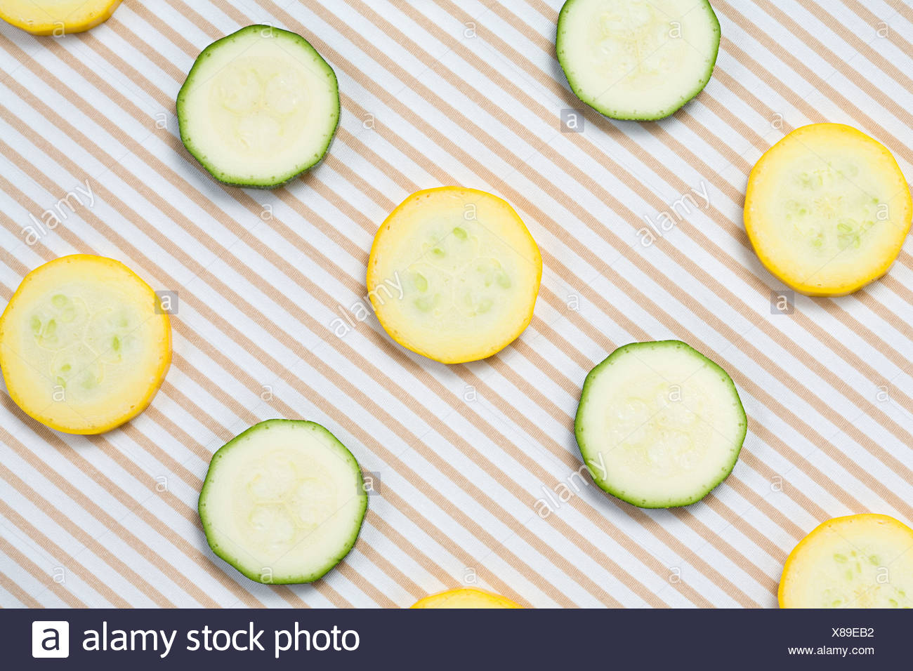 Slices of courgette - Stock Image
