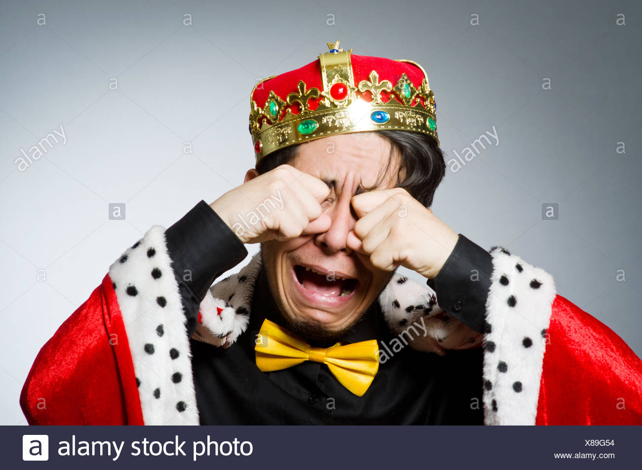 Concept of king businessman with crown - Stock Image
