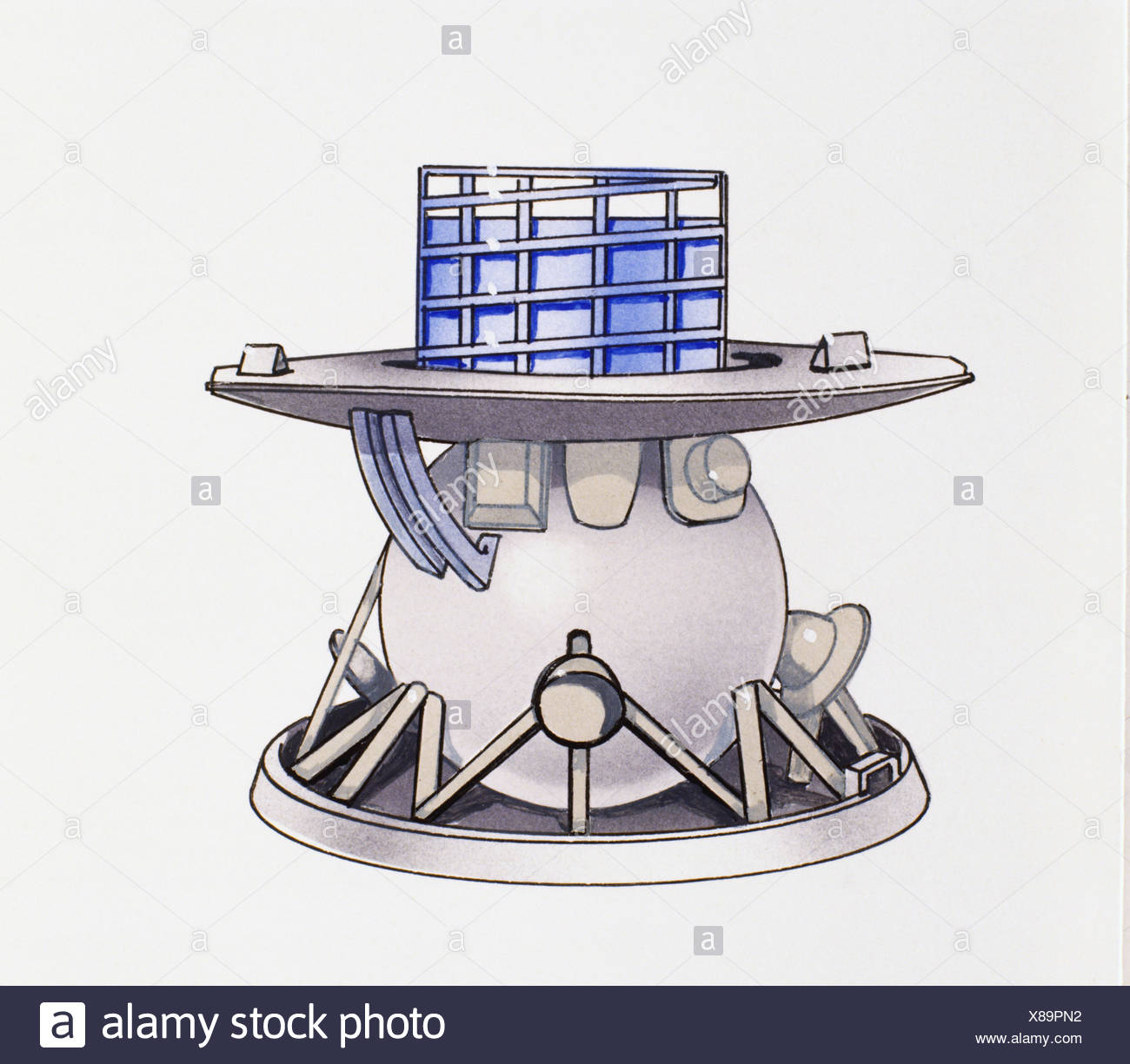 Venera 9 space craft used for exploring Venus in 1975, glass panels at top, large saucer-like skirt and bottom. - Stock Image