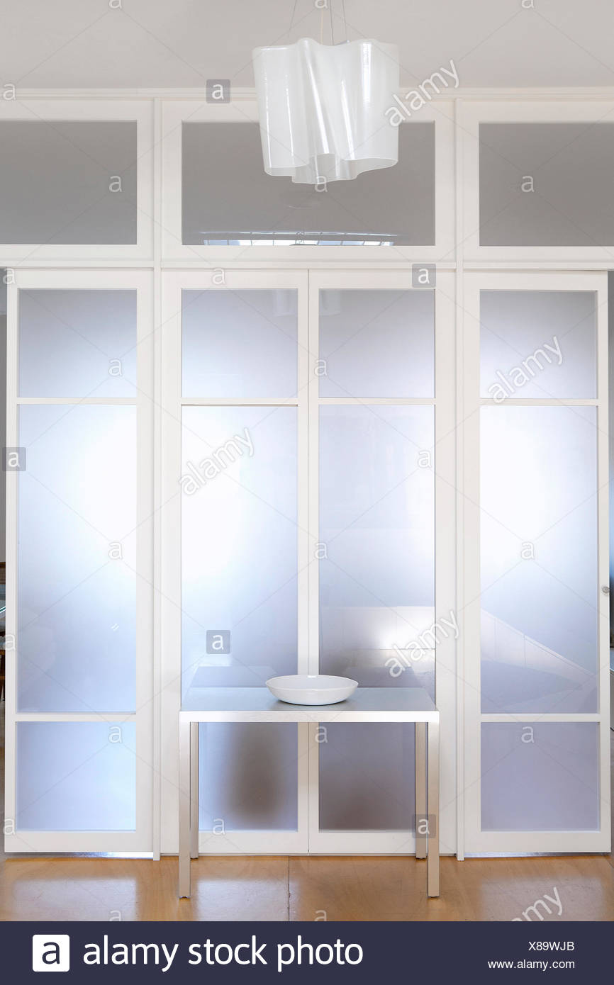 White opaque glass door - Stock Image