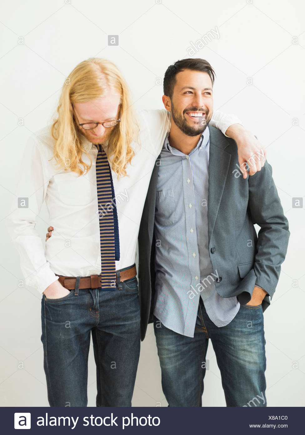 Two smiling friends - Stock Image