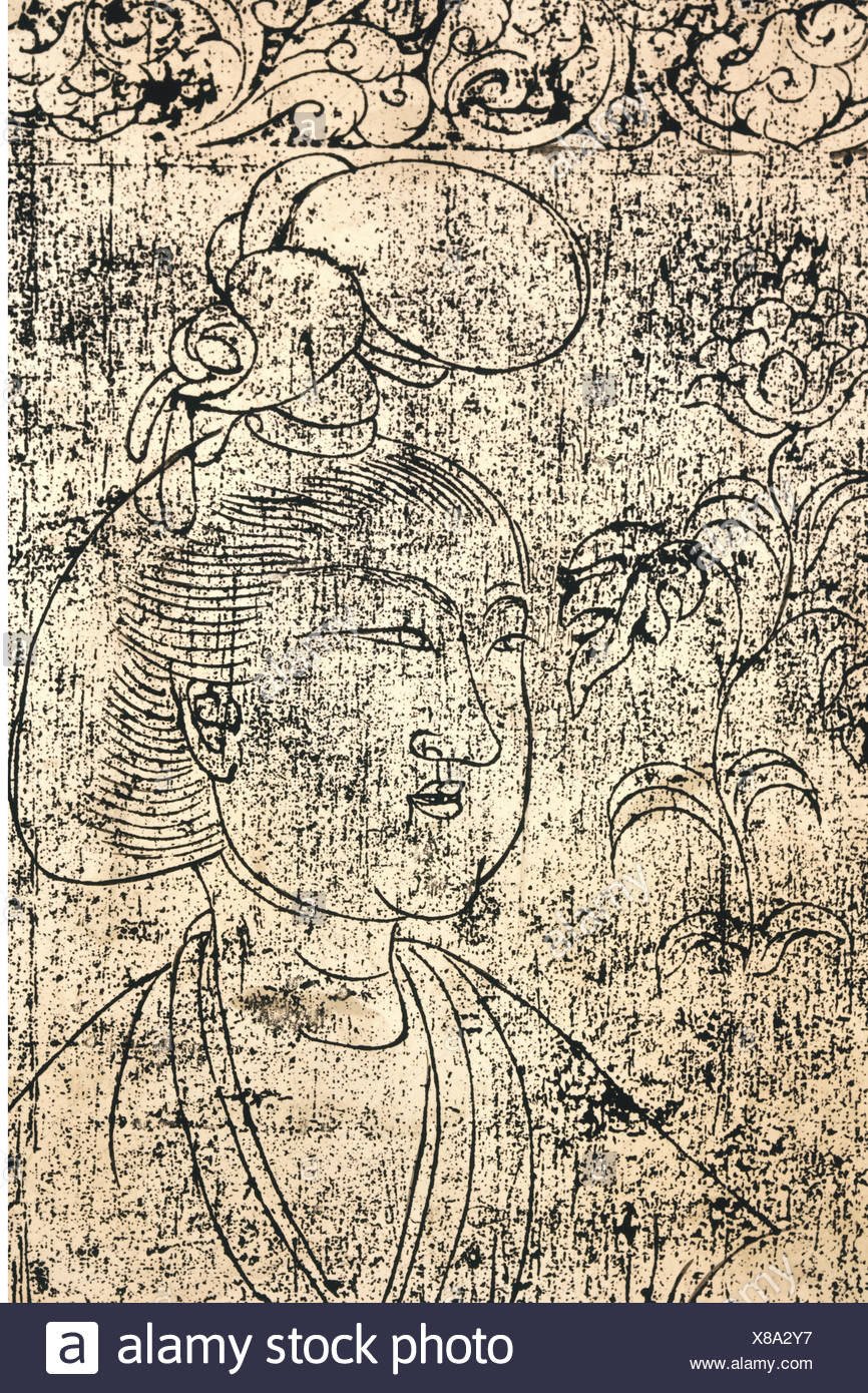 fine arts, China, Tang Dynasty, portrait of a lady, brass rubbing of a doorframe, Tshangan, Shensi, 716, Artist's Copyright has not to be cleared - Stock Image