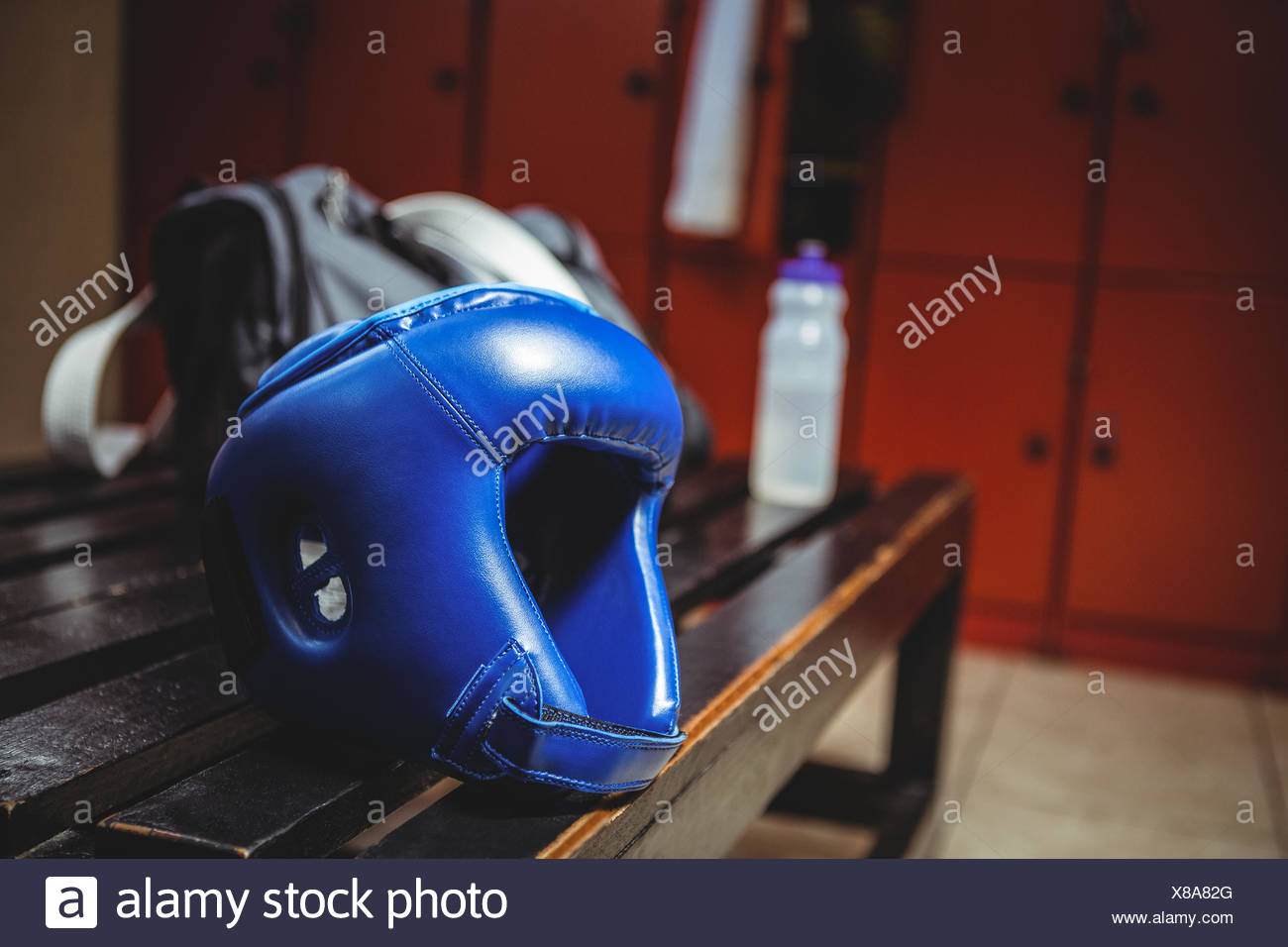 Close-up of boxing headgear - Stock Image