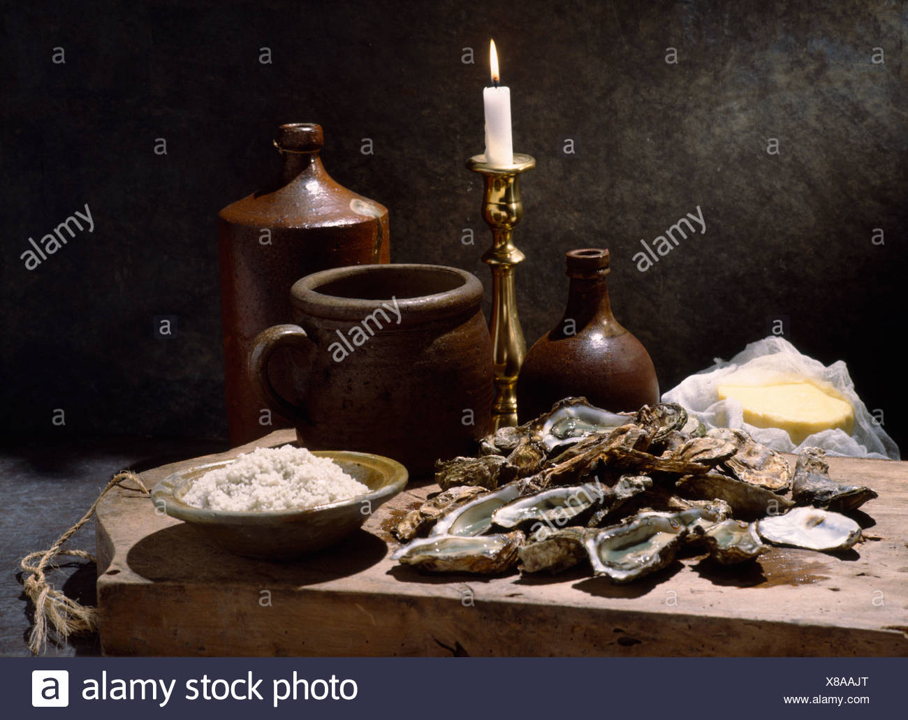 Still life of oysters - Stock Image