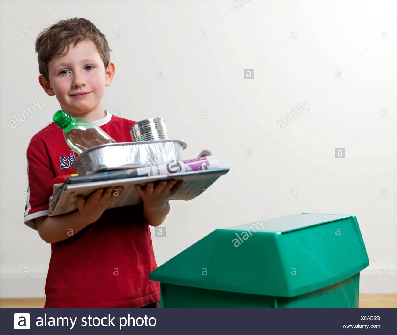 Recyclable household waste - Stock Image