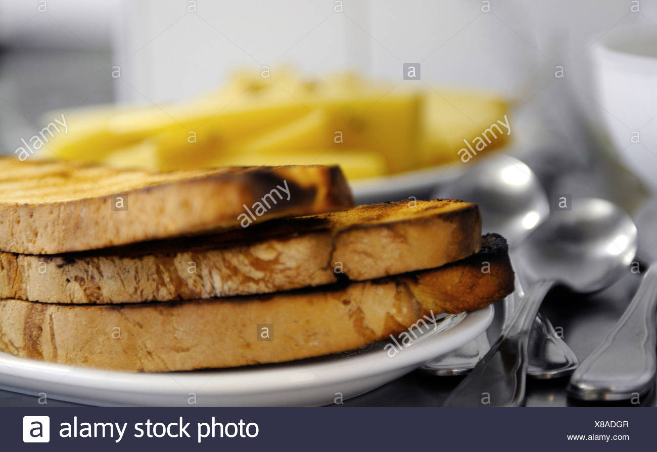 Three slices of toasted bread - Stock Image