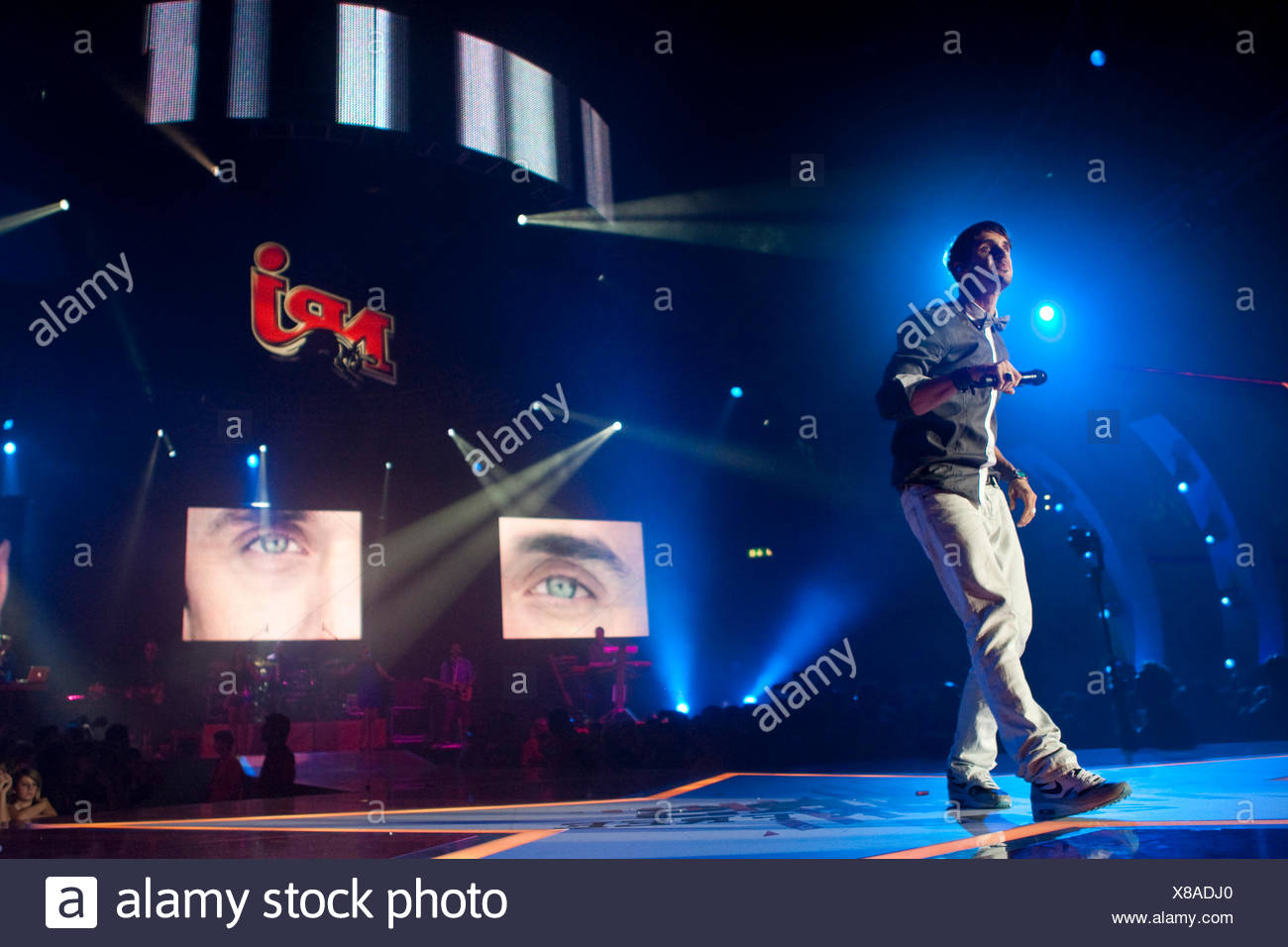 The Swiss soul singer Jan Dettwyler aka Seven live at the Energy Stars For Free event at the Hallenstadion Oerlikon concert hall - Stock Image