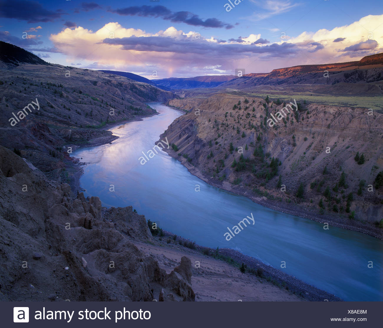 erosion on banks of the Fraser River, Churn Creek protected area, British Columbia, Canada. Stock Photo