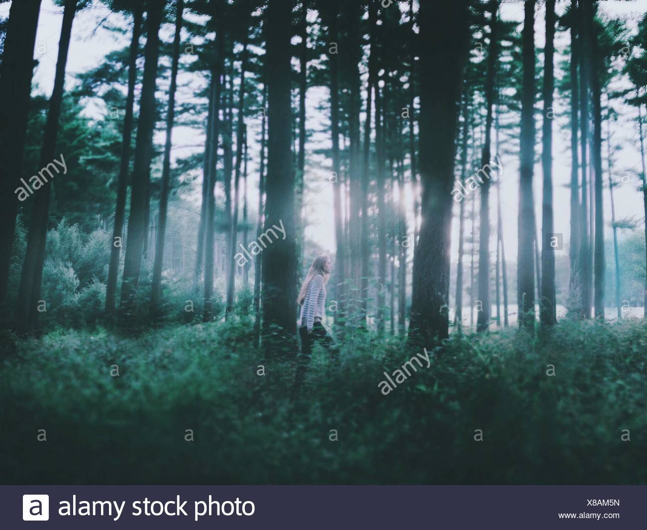 Side view of a young woman walking through a forest Stock Photo