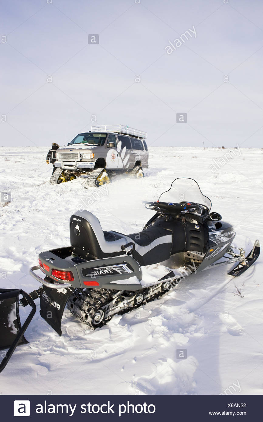 Canada, Manitoba, snowmobile, vehicle, chain wheels, means of transportation, the Arctic, - Stock Image