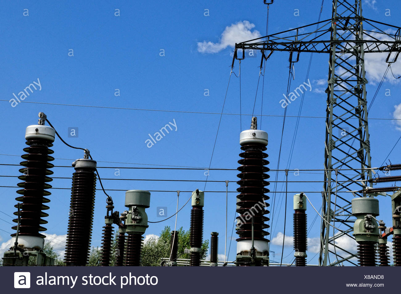 transformer,electricity substation - Stock Image