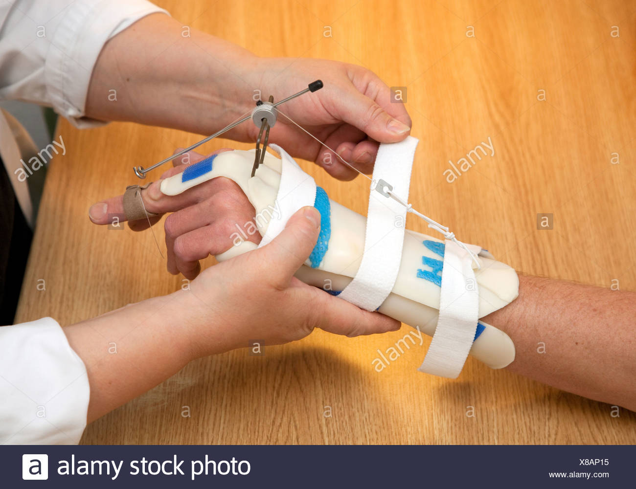 Essen, Germany, occupational therapy, a patient is laid a hand rail - Stock Image