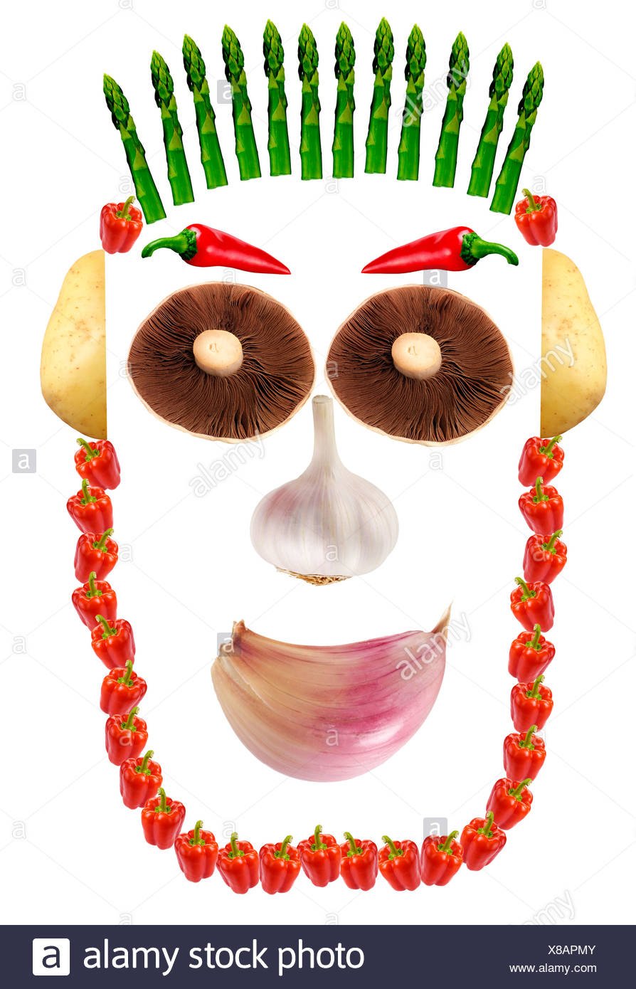 VEGETABLE FACE ON WHITE - Stock Image