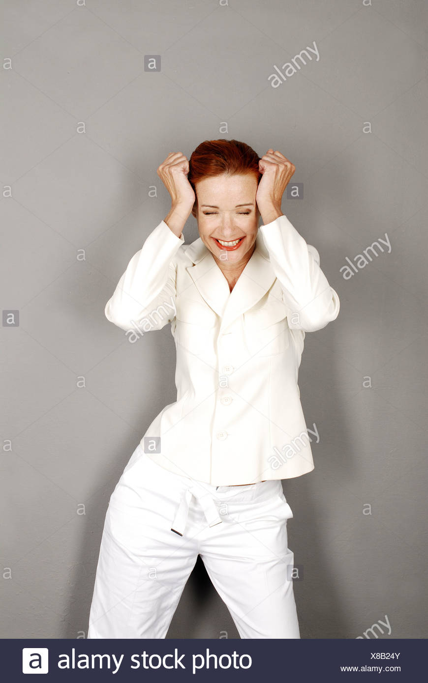 Woman Pant Suit Joy Laughs Series People Red Hairy Cheerfully Stands Pleases Happily Surprise Jubilation Contentment Joy