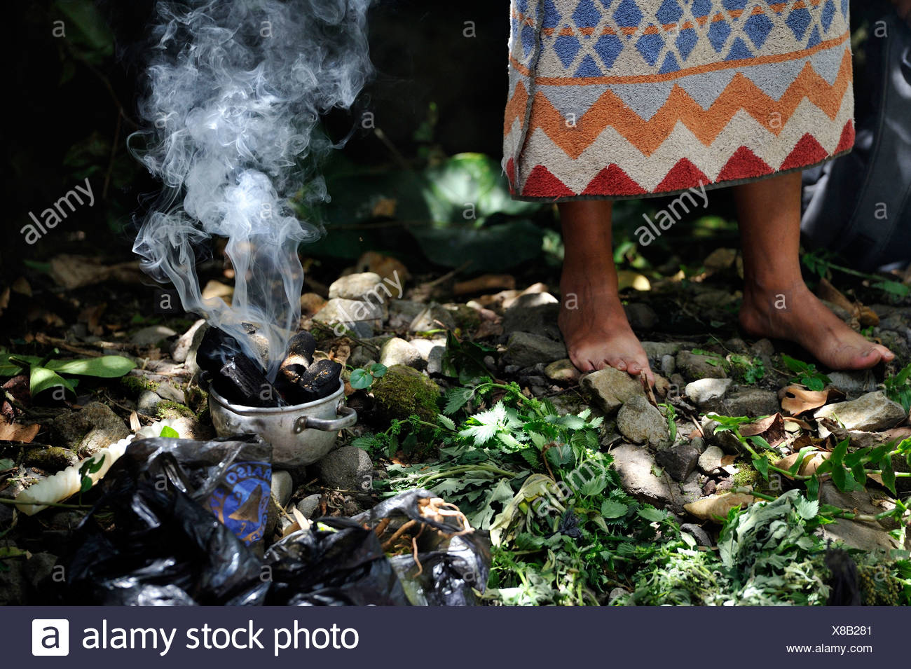 Incense burning, traditional ablutions to ward off evil spirits and to cleanse the soul of the indigenous Caranqui people, this - Stock Image