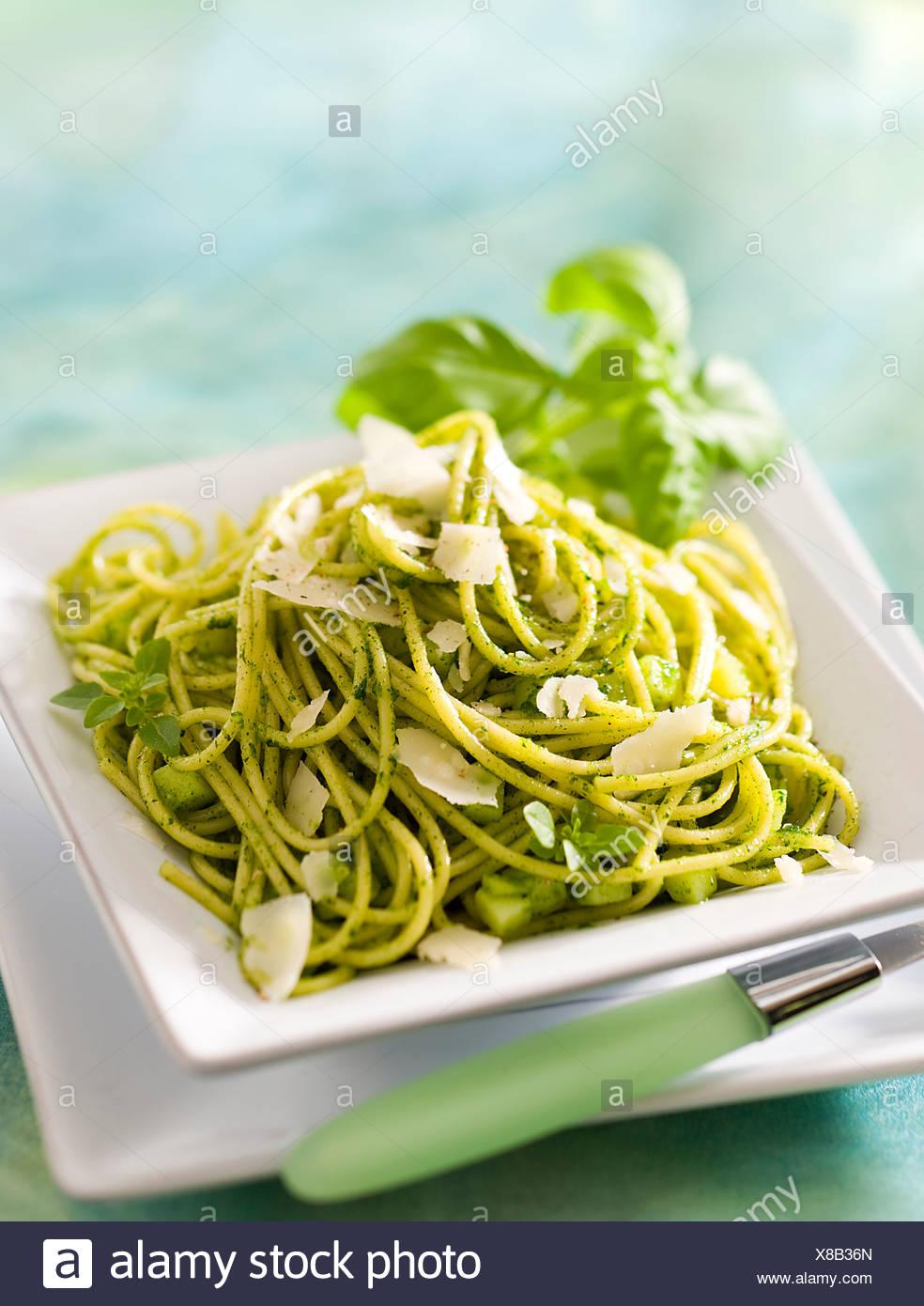 Pesto Spaghetti - Stock Image