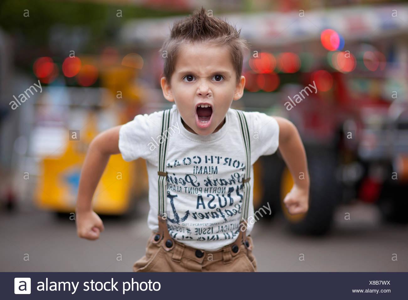 Bulgaria, Little boy (4-5) roaring - Stock Image