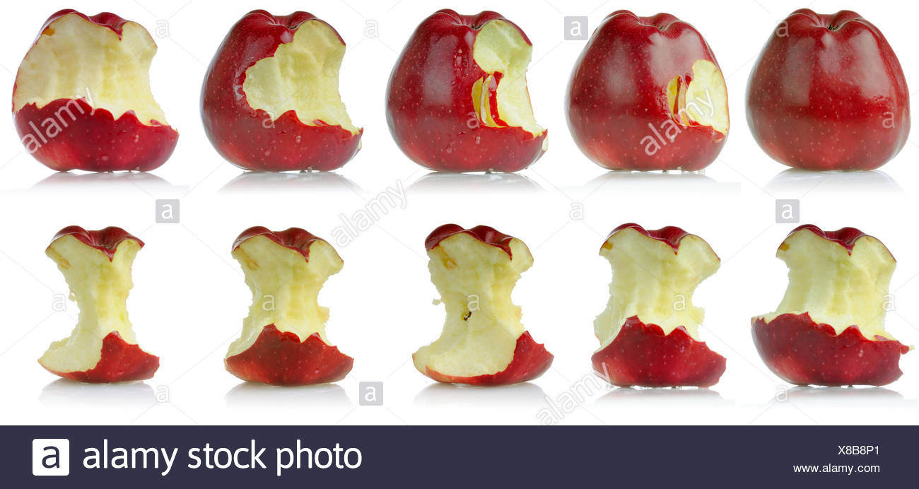 Sequence of eaten apple - Stock Image